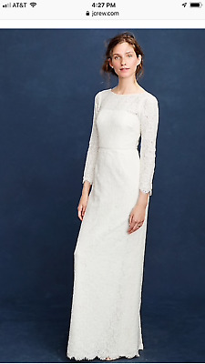 2a09e23c6f NWT  750 J.CREW Isabel Gown Lace white ivory f4002 dress classic wedding sz  4