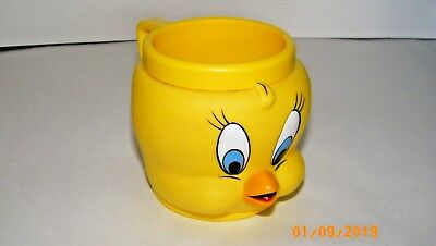 LOONEY TUNES WARNER BROS TWEETY BIRD PLASTIC KIDS MUG CUP 10 oz. 1992 EUC