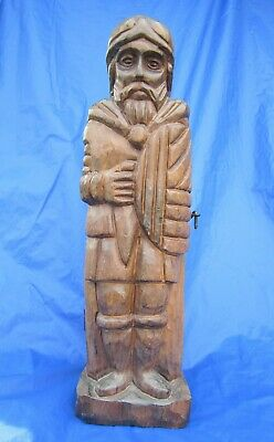 """Spanish Knight Statue Hand Carved Wood Wine Bottle Holder Hinged Chest 16"""" Tall"""