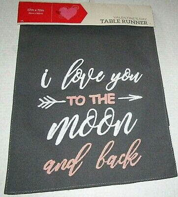 "VALENTINE'S DAY Table Runner I LOVE YOU TO THE MOON AND BACK 13"" X 72"""