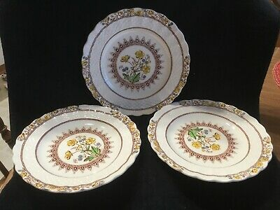 "Spode Copeland Buttercup Bread & Butter Plates Set Of 3 ~ 6-1/2"" Vintage"
