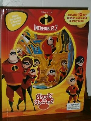2018 Disney Ent. Incredibles 2 Stuck On Stories, 10 Toy Suction Cups & A Storybo