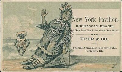 New York Pavilion Ufer & Co., Rockaway Beach, NY Black Americana Trade Card