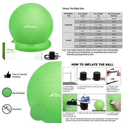 Trideer Ball Chair – Exercise Yoga with 65cm, New Ring (Green)