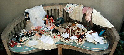 Hugh Vintage Lot Antique Doll Clothes Shoes 1950's-60's & Before AS IS