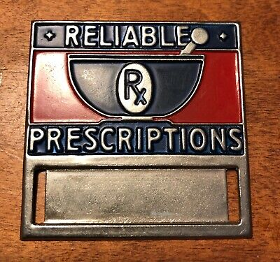 Vintage Reliable Prescriptions Pharmacy name tag pin