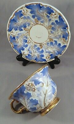 Antique 19th Century Meissen Germany Gilt High Relief Blue Leaf Tea Cup Saucer