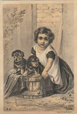 Victorian Advertising Trade Card Blood Liver Pills Sweet Child / 2 Puppies.