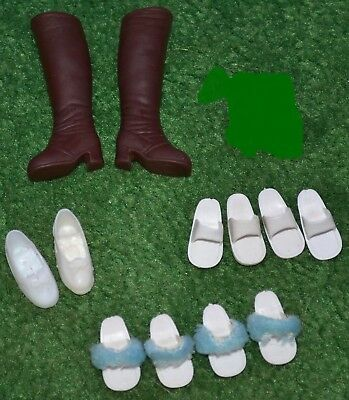 Lot Pedigree Sindy Shoes Boots Slippers Sandals White Brown Blue 1970's Doll