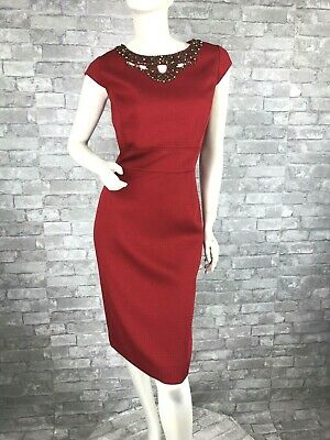 427704613efc Auth New ELIE TAHARI Runway Red Cocktail Dress Top Zipper Lined 8 US 44 IT M