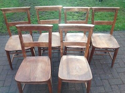 Set of 6 Vintage Wooden Church Chapel Chairs with Bible Shelf