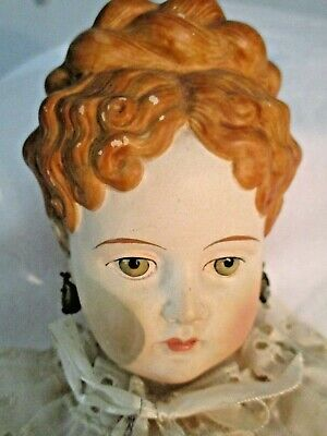 Antique Parian Doll - Red Hair- Green Eyes - Kling? -Germany -Painted Boots -20""