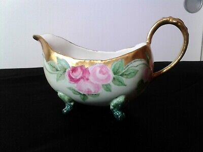 Limoges W.G & C Co Hand Painted Gravy/Sauce Boat or Creamer (Gold trim)