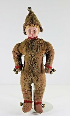 Antique Minerva Tin Head Boy Doll in Wonderful Mohair Costume with Bells