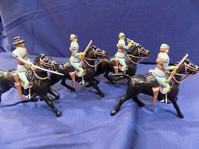 4 VINTAGE LEAD TOY SOLDIERS ON HORSES, CIVIL WAR CONFEDERATE, Britains?