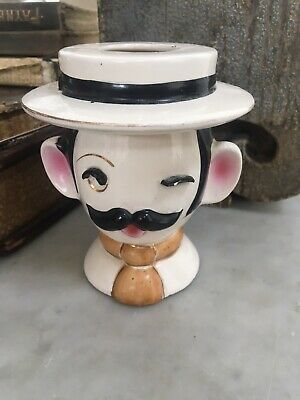 Vintage Head Vase Barber Man Shaving Cup Head Planter - Irice