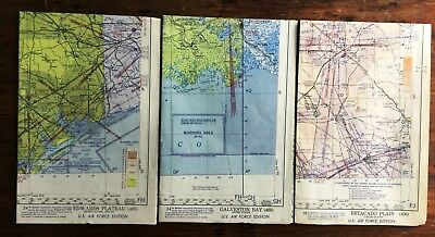 1950's Vintage World Aeronautical Chart Maps USAF - Estacado, Edwards, Galveston