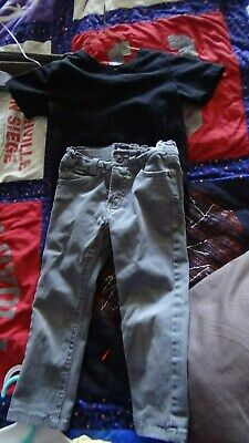 lot of 3 boys size 2t clothes gray hudson skinny jeans, black h&m shirt and jamm