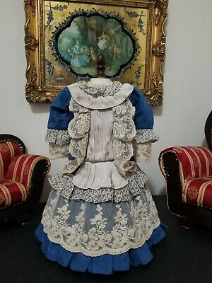 """Vintage French victorian dress 14"""" for antique bisque German doll 19-22"""""""