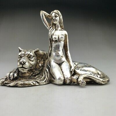 Ancient Chinese Tibetan Silver Hand-carved beauty statues with leopards...。