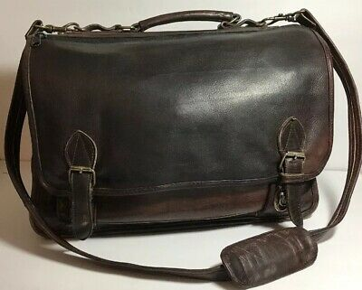 Vintage Men Messenger Shoulder Satchel Leather Plaid briefcase Laptop bag  Boss ac64cce55a3a7