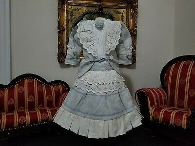 """Vintage French victorian dress 17"""" for antique bisque German doll 24-28"""""""