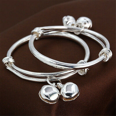 2Pcs Baby Kids Silver Bell Bracelet Cuff Bangle Adjustable Boys Girls Gift