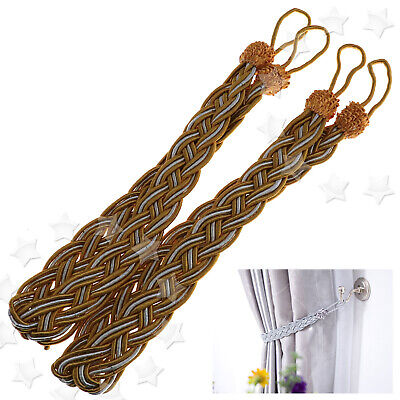 2 x Braided Satin Rope Curtain Tie Back Ropes Tieback Rope Tie Back Hold Gold