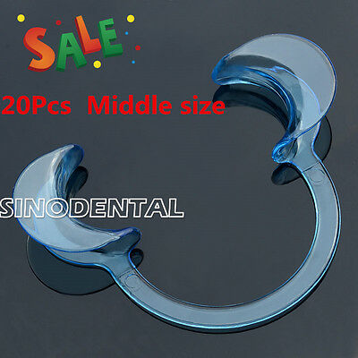 20 pcs Dental Teeth Whitening Cheek Retractor Middle Size Transparent Clear Blue