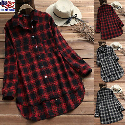 Womens Plaid Check Shirt Long Sleeve Casual Tunic Top Button Down Blouse Tops US