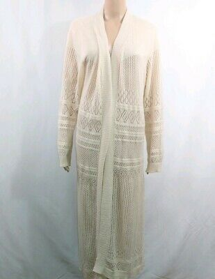 bd3ddffd6a0ab Belldini Womans Duster Cardigan Plus Size 1X Open Front Cream White  Pointelle