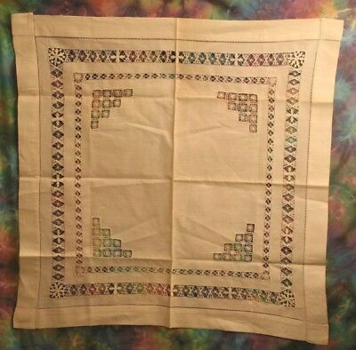 "Vintage Ivory Linen Tablecloth w/ Drawn Needlework Borders & Insets 28"" Square"