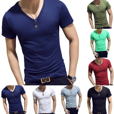 Men T-Shirt Short Sleeve Slim Fit V-Neck Casual Fitness Gym Tight Tops M-2XL