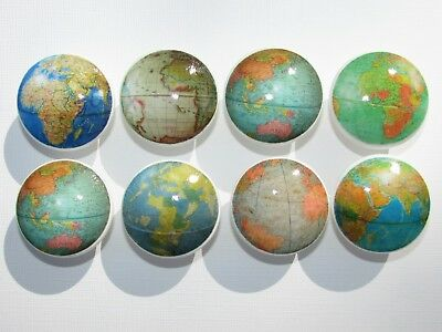 Vintage Old World Globe Drawer Knobs Atlas Maps Set of 8
