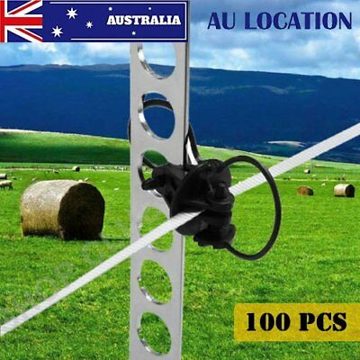 100PCS STEEL POST PINLOCK INSULATOR - Electric Fence Energiser Poly Tape Wire 0@