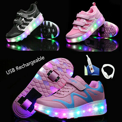 USB Charging Kids Unisex Roller Wheel Shoes Led Shoes Double Wheel Sneaker Gift