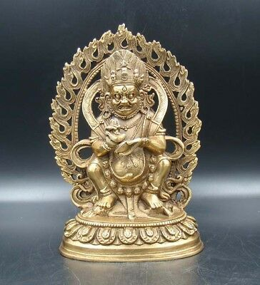Exquisite Collectible Handmade Carving Old Statue Buddha India Copper