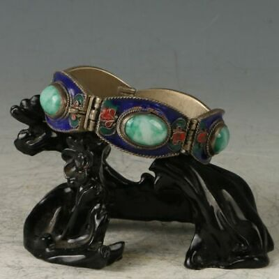 Chinese Silver Copper&Cloisonne Inlay Jade Hand-made Beautiful Bracelet