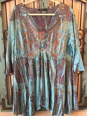 5568a3c2686b3 Apt 9 Women s Boho Style Blouse With Ribbon Neck Detail Plus Size 2X