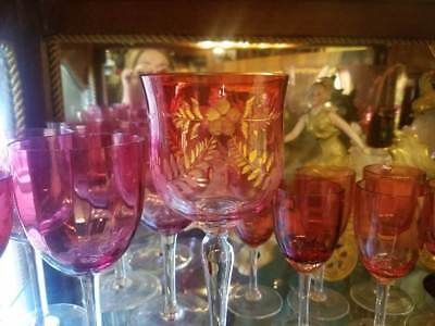 Victorian Cranberry Etched Gilded Wine Glass Stemware Moser ~ Blown