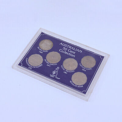 Australian Round Silver 50 Cent Collection 6 Coins 1965, 1970, 1977, 1981, Unc