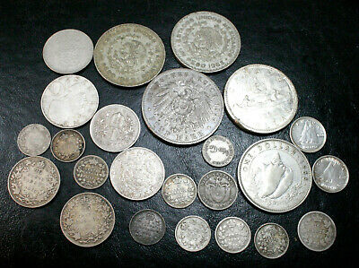 Foreign Silver Coin Lot ~ 5.55 Oz. ~ Various Fineness ~ Canada, Mexico, Germany