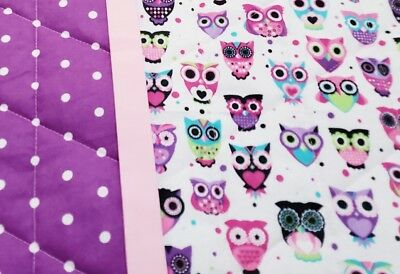 """HANDMADE """"OWLS"""" 35x42in PURPLE FLANNEL GIRLS BABY/TODDLER  QUILTED BLANKET-GIFT"""