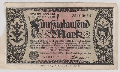 (N22-28) 1923 Germany 50,000 marks bank note (space filler)(AC)