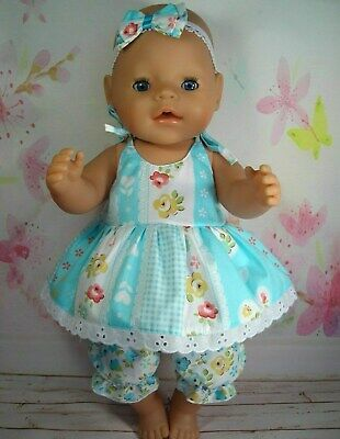 "Dolls clothes  for 17"" Baby Born  doll~BLUE FLORAL/HEARTS STRAP DRESS~BLOOMERS"