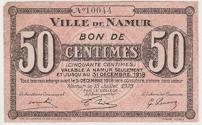 (N22-19) 1918 French Colonies NAMUR 50 Centimes bank note (S)