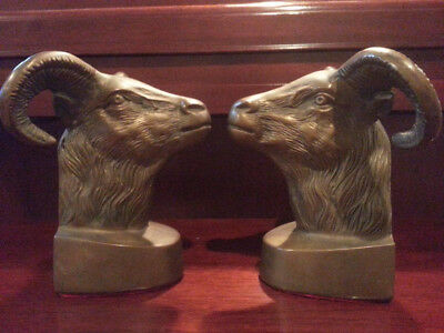Vintage Large Brass Ram's Head Bookends, Aries, Jack Housman style VERY Classy!