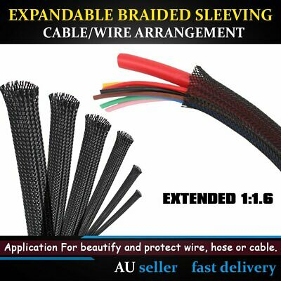 3-Wave Nylon Expandable Braided Cable Wire Sleeve Sleeving Black 3mm-50mm - 10M