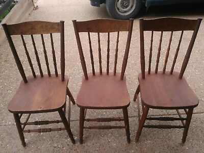 Dining chairs antique x 3 . Embossed Lyrebird back.Good Condition .Beechworth