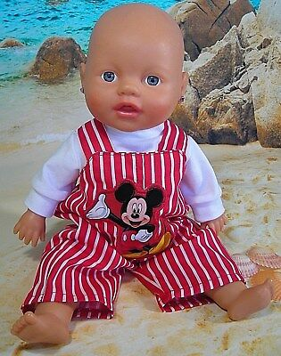 """Dolls clothes for 13"""" My Little Baby Born Doll~MICKEY MOUSE RED STRIPE OVERALLS"""